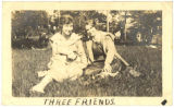 """Three Friends,"" two unidentified women and a dog from the Warren Carson McNeill photo..."