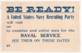 Be Ready! A United States Navy Recruiting Party Will Visit