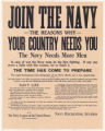 Join the Navy--The Reasons Why--Your Country Needs You