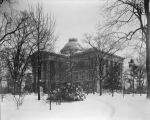 North Carolina State Capitol in the snow, 1940's