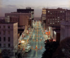Aerial view of Fayetteville Street at Christmas, 1968