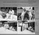 Contact sheet with images of a man carving walking cane.