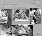 Contact sheet with images of Jugtown potter throwing on the wheel.