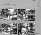 Contact sheet with images of Jugtown Pottery grounds and visitors.