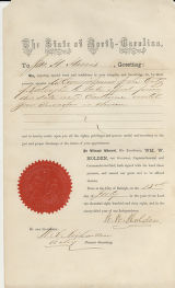 Certificate of appointment: James H. Harris to City Commissioner for Raleigh, N.C., July 13, 1868