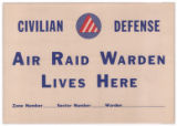 Civilian Defense--Air Raid Warden Lives Here