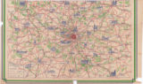 [double-sided map depicting Paris, France (Side 1) and cities and landmarks surrounding Paris...