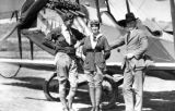 Photograph:Tiny Broadwick before  last jump, with Clyde Pangborn and Mayor, George Edward Cryer