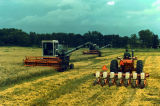 Harvesting and planting machinery at the Agricultural Engineering Development Farm.