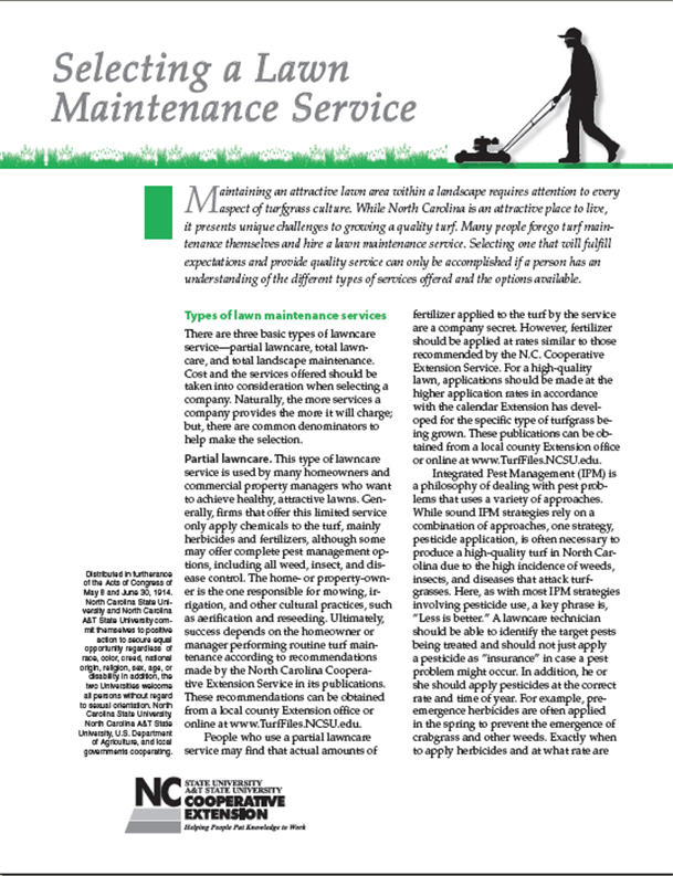Selecting a lawn maintenance service
