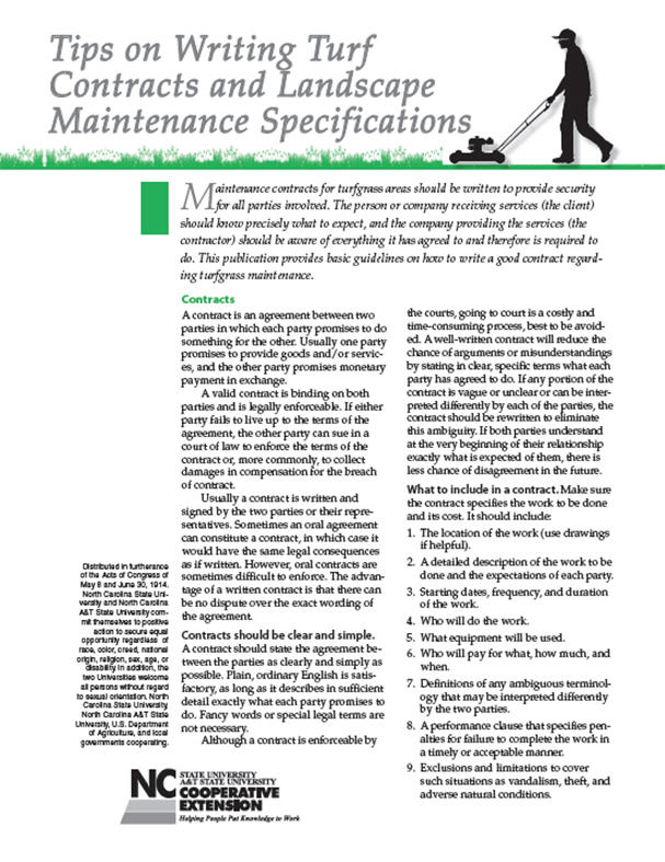 Tips on writing turf contracts and landscape maintenance specifications