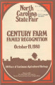 North Carolina State Fair century farm family recognition, October 19, 1980 : 100 years of...