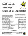 Fact sheet for considerations in establishing a municipal oil and grease program