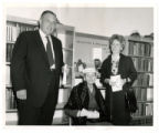 Edwin Duncan, Sr. and Jane Duncan Miller stand next to Mrs. Rosa Collins (seated) at Alleghany...