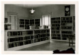 Mount Airy Public Library. Bookshelves and wall clock