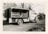 Wilson County Public Library bookmobile with contents on display