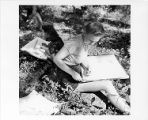 Hope Stephens, Black Mountain College student, drawing outside ca. 1935-1940