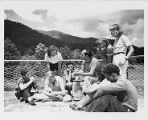 Lawrence Kocher with architecture students, ca. 1941-1942