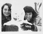 Tonya Sprager and Aurora Cassotta in the snow at Black Mountain College, Lake Eden campus, ca. 1942