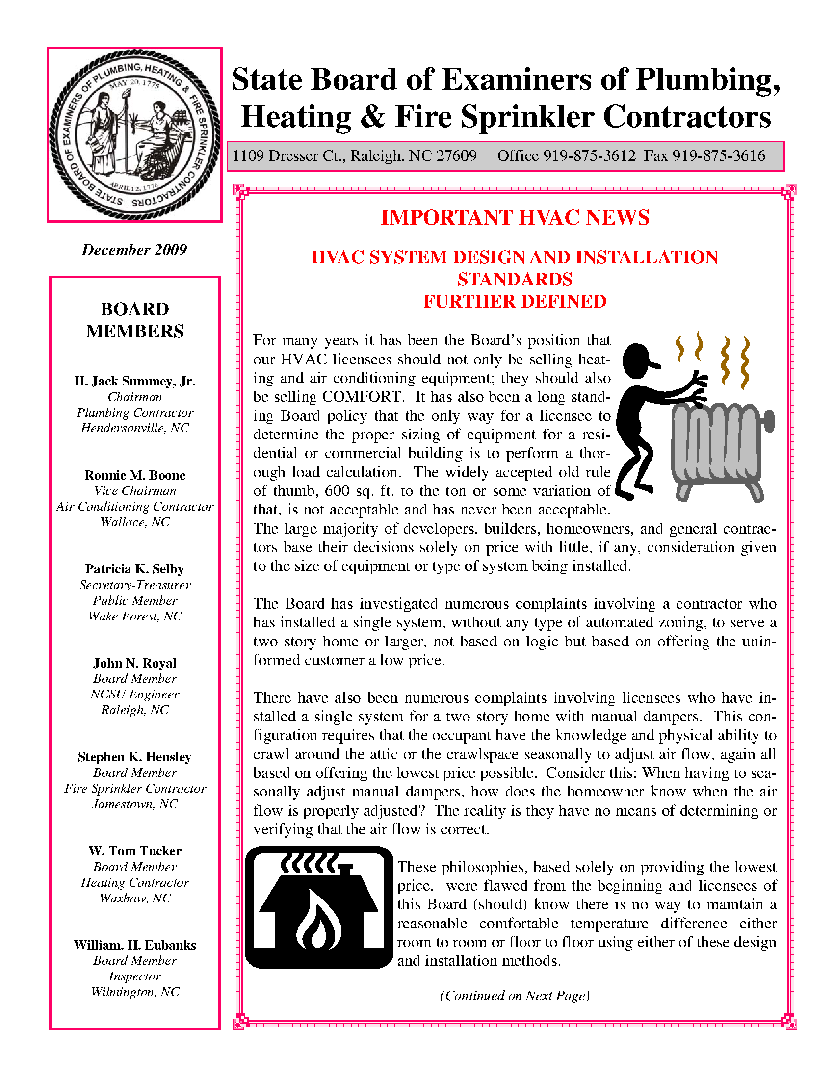 Engineering Newsletter State Board Of Examiners Of Plumbing Heating Fire Sprinkler Contractors 2009 December State Publications Ii North Carolina Digital
