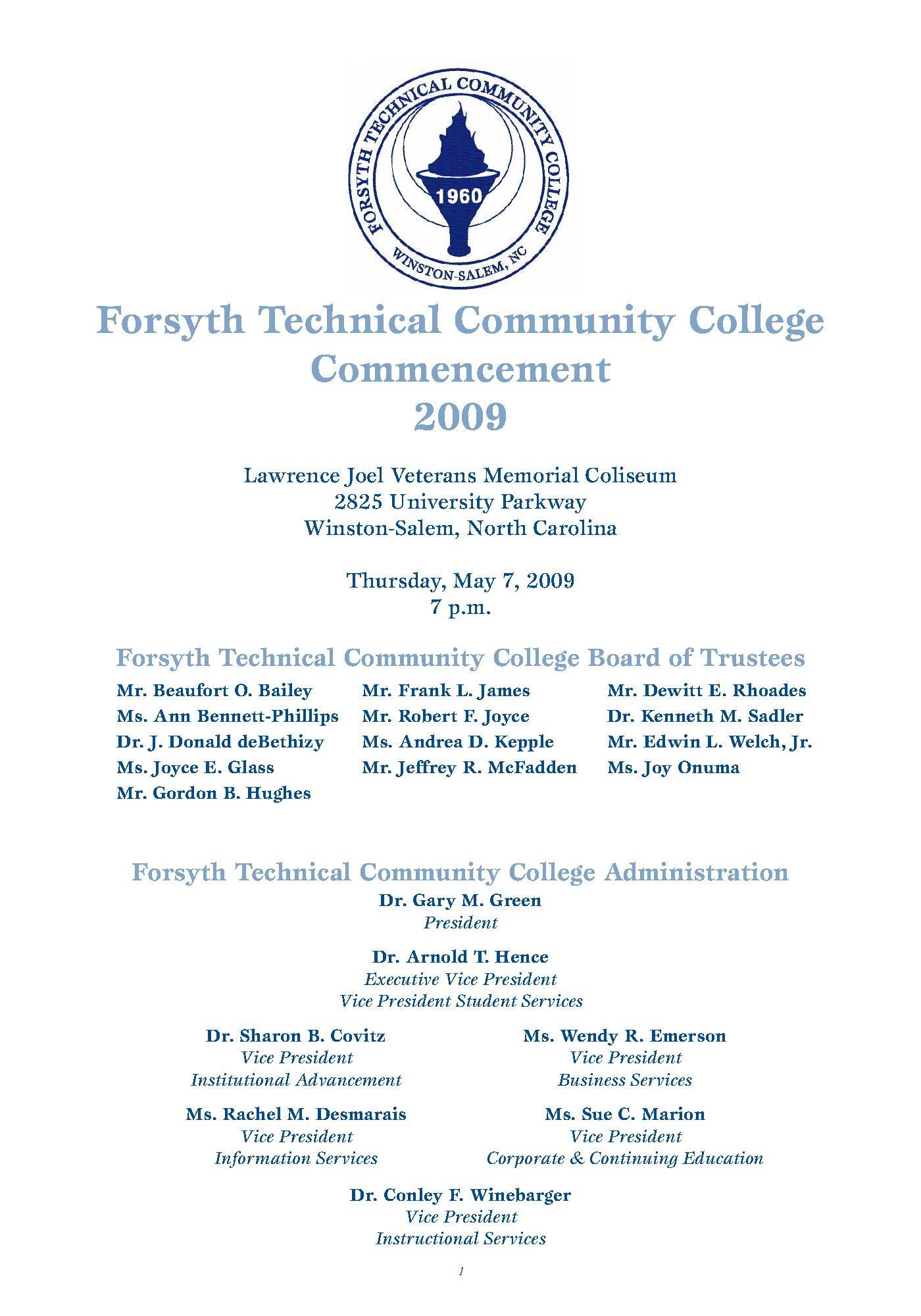 Forsyth Technical Community College Commencement 2009 May 7 State Publications Ii North Carolina Digital Collections