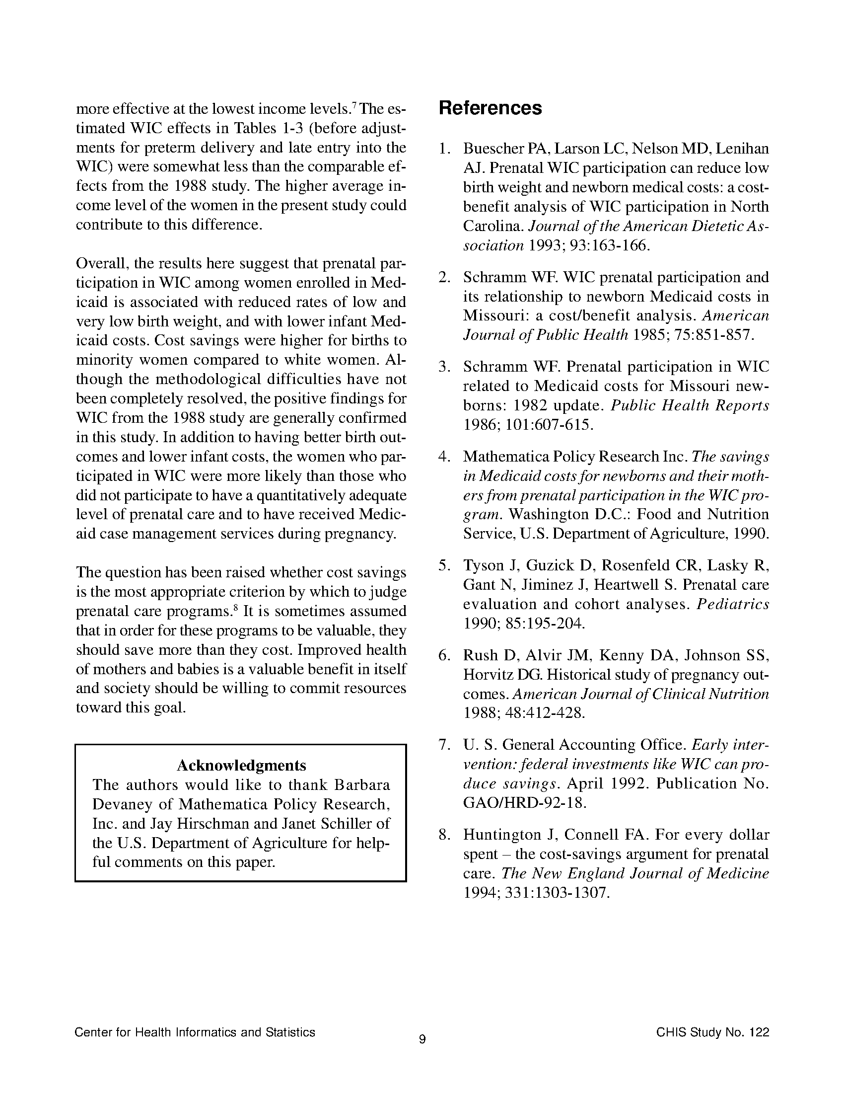 Prenatal Wic Participation In Relation To Low Birth Weight And Medicaid Infant Costs In North Carolina A 1997 Update Page 9 State Publications North Carolina Digital Collections