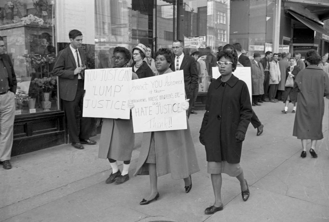 item thumbnail for African American women picketers holding signs calling for justice