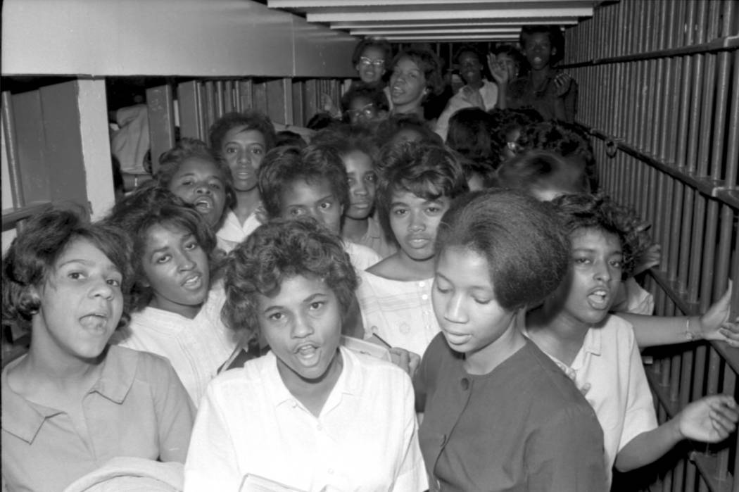 item thumbnail for African American women protesters crowded into a jail cell